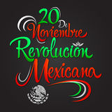 20 de Noviembre Revolucion Mexicana - November 20 Mexican Revolution Spanish text Stock Image