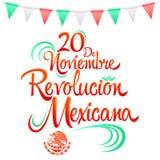 20 de Noviembre Revolucion Mexicana, o 20 de novembro texto espanhol da revolução mexicana ilustração do vetor
