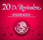 20 de Noviembre, Revolucion Mexicana - tarjeta de texto española de la revolución mexicana Foto de archivo libre de regalías