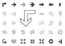 De nuevo abajo al icono de la flecha Iconos del ejemplo de la flecha fijados stock de ilustración