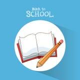 De nuevo al aprendizaje del lápiz del libro de escuela escriba el cartel Fotografía de archivo libre de regalías
