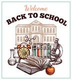 De nuevo al cartel de la escuela stock de ilustración