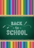 De nuevo al cartel de la escuela con el lápiz del color Cartel de la escuela Vector la plantilla para el cartel, aviador, folleto Fotografía de archivo