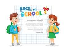 De nuevo al cartel del marco de la escuela ilustración del vector