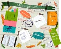 De nuevo al cartel scrapbooking de la escuela. Foto de archivo libre de regalías
