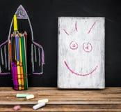 De nuevo al cohete de la escuela fuera de los lápices Foto de archivo