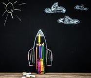 De nuevo al cohete de la escuela fuera de los lápices Fotografía de archivo