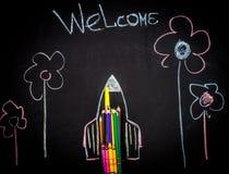 De nuevo al cohete de la escuela hecho fuera de los lápices Fotografía de archivo libre de regalías