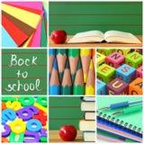 De nuevo al collage de la escuela Fotos de archivo