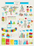 De nuevo al conjunto de Infographic de la escuela Fotografía de archivo