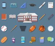De nuevo al ejemplo del vector del diseño plano de la escuela, a la construcción de escuelas, a la pluma, al pensil, a la comida, stock de ilustración
