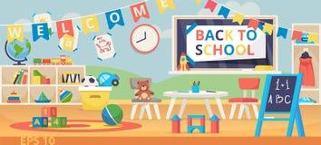 De nuevo al ejemplo de la bandera de escuela Primer día escolar, día del conocimiento, el 1 de septiembre Sala de clase preescola ilustración del vector