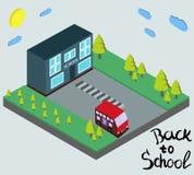 De nuevo al ejemplo de la escuela en el estilo isométrico 3D libre illustration