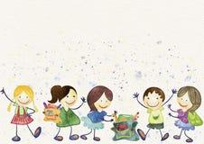 De nuevo al fondo de la escuela (EPS+JPG) Acuarela de los alumnos stock de ilustración