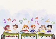 De nuevo al fondo de la escuela (EPS+JPG) Concepto de la educación watercolor ilustración del vector