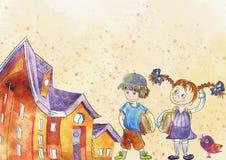 De nuevo al fondo de la escuela (EPS+JPG) Concepto de la educación watercolor stock de ilustración