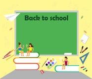De nuevo al texto del dibujo de la escuela con tiza en una pizarra con los temas de escuela, los libros, los caracteres y el elem ilustración del vector