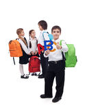 De nuevo a concepto de la escuela con un grupo de niños Foto de archivo