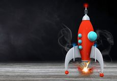 De nuevo a concepto de la escuela con el fondo de la pizarra del cohete ilustración del vector