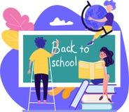 De nuevo a concepto de la escuela con tres estudiantes jovenes que escriben el texto stock de ilustración