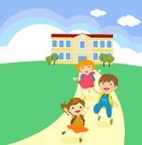 De nuevo a concepto de la escuela el estudiante embroma la historieta que salta y que corre stock de ilustración