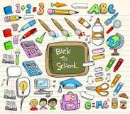 De nuevo a conjunto del Doodle de la escuela Foto de archivo