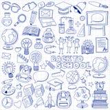 De nuevo a conjunto del Doodle de la escuela Iconos lineares ilustración del vector