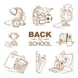 De nuevo a conjunto del icono de la escuela Imagen de archivo