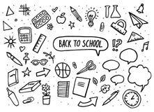 De nuevo a conjunto de la escuela Letras del vector y gráfico a mano artículos de la educación Ilustración del vector Fotografía de archivo libre de regalías