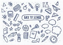 De nuevo a conjunto de la escuela Letras del vector y gráfico a mano artículos de la educación Ilustración del vector Fotos de archivo libres de regalías