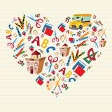 De nuevo a corazón del amor de la escuela Imágenes de archivo libres de regalías