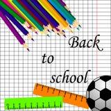 De nuevo a diseño del cartel del título de la escuela en una pizarra con los artículos de la escuela en un fondo Ilustración Edit stock de ilustración
