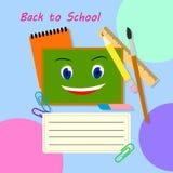 De nuevo a diseño de la bandera del vector de la escuela Artículos y espacio de la educación para el texto en un fondo Ejemplo pl Foto de archivo