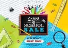De nuevo a diseño de la venta de la escuela con el lápiz colorido, el cepillo y otros artículos de la escuela en fondo amarillo I libre illustration