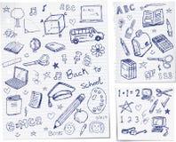De nuevo a doodles de la escuela Foto de archivo libre de regalías