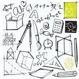 De nuevo a doodles de la escuela Fotos de archivo libres de regalías