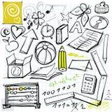 De nuevo a doodles de la escuela Fotos de archivo