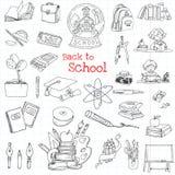 De nuevo a doodles de la escuela Imagen de archivo libre de regalías