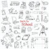 De nuevo a doodles de la escuela Fotografía de archivo libre de regalías