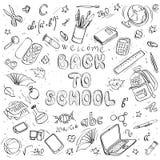 De nuevo a doodles de la escuela Vector drenado mano Imagen de archivo libre de regalías
