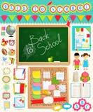 De nuevo a elementos del libro de recuerdos de la escuela. Imagen de archivo libre de regalías