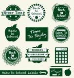 De nuevo a escrituras de la etiqueta y a etiquetas engomadas de la escuela Foto de archivo libre de regalías