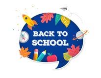 De nuevo a escuela, burbuja con muchos iconos de la educación, elementos del discurso Dise?o de concepto del vector libre illustration