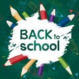 De nuevo a escuela con los lápices Imagen de archivo libre de regalías