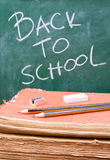 De nuevo a escuela con los lápices, el caucho y los sacapuntas Imagen de archivo