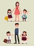 De nuevo a escuela Conjunto de caracteres Padres con sus niños s Stock de ilustración