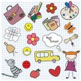 De nuevo a escuela. Conjunto de la muchacha. Libre Illustration
