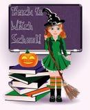 De nuevo a escuela de la bruja Libros lindos de la bruja y de la calabaza Imagenes de archivo