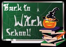 De nuevo a escuela de la bruja Tarjeta de felicitación Foto de archivo libre de regalías