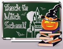 De nuevo a escuela de la bruja Tarjeta de la invitación con los libros y la calabaza Imágenes de archivo libres de regalías